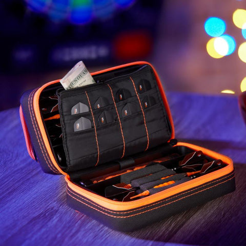 Casemaster Plazma Pro Black with Orange Trim Dart Case and Phone Pocket