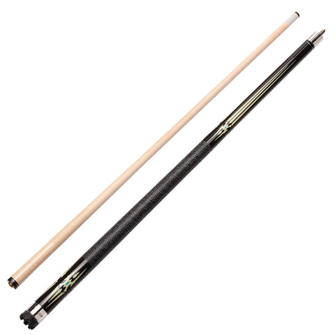 Image of Viper Sinister Series Cue with Black and White Design and Casemaster Q-Vault Supreme Black Cue Case