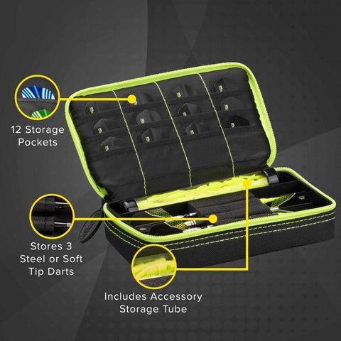 Image of Casemaster Plazma Dart Case Black with Yellow Trim Dart Cases Casemaster