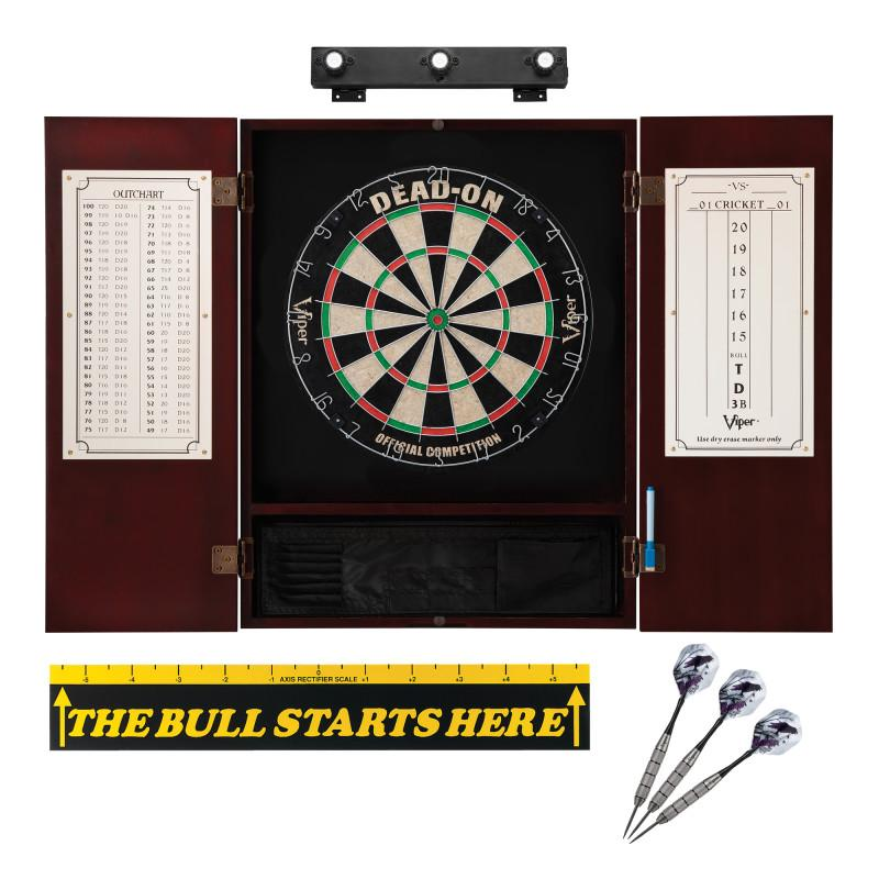 "Viper Dead On Sisal Dartboard, Metropolitan Mahogany Cabinet, Shadow Buster Dartboard Lights & ""The Bull Starts Here"" Throw Line Marker Darts Viper"