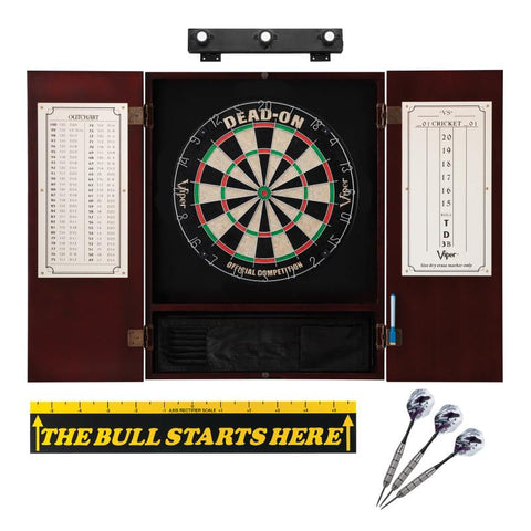 "Image of Viper Dead On Sisal Dartboard, Metropolitan Mahogany Cabinet, Shadow Buster Dartboard Lights & ""The Bull Starts Here"" Throw Line Marker Darts Viper"