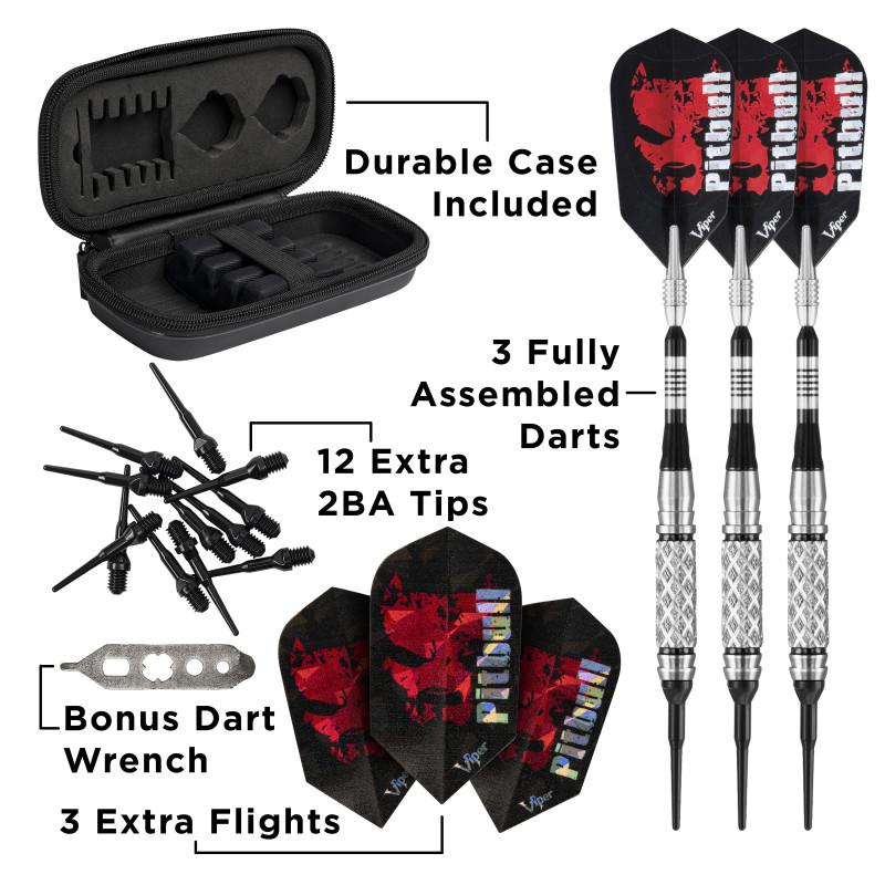Viper Pitbull Darts Tungsten Soft Tip Darts Diamond Cut and Shark Fin Barrel 18 Grams
