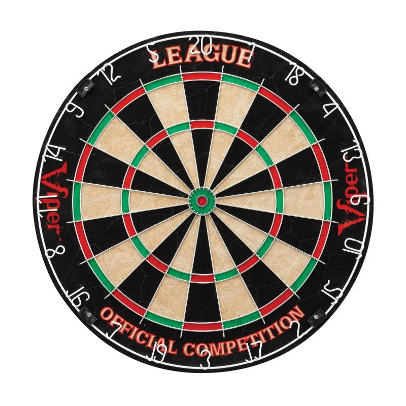 "Viper League Sisal Dartboard, Metropolitan Mahogany Cabinet, Shadow Buster Dartboard Lights & ""The Bull Starts Here"" Throw Line Marker Darts Viper"