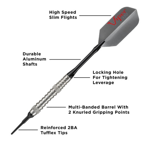 Viper V-Factor Tungsten Soft Tip Darts Grooved Barrel 18 Grams