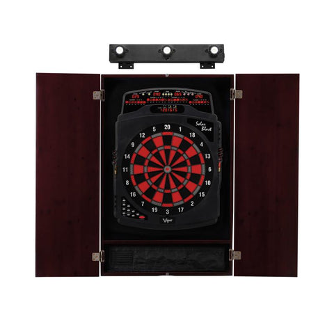 Image of Viper Solar Blast Electronic Dartboard, Metropolitan Mahogany Cabinet & Shadow Buster Dartboard Lights