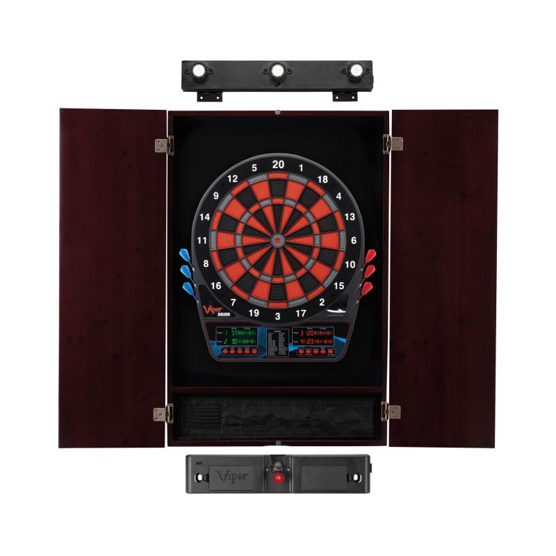 Viper Orion Electronic Dartboard, Metropolitan Mahogany Cabinet, Laser Throw Line & Shadow Buster Dartboard Light Bundle Darts Viper