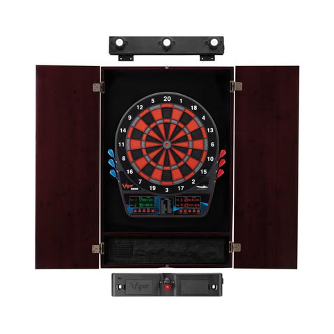 Viper Orion Electronic Dartboard, Metropolitan Mahogany Cabinet, Laser Throw Line & Shadow Buster Dartboard Light Bundle