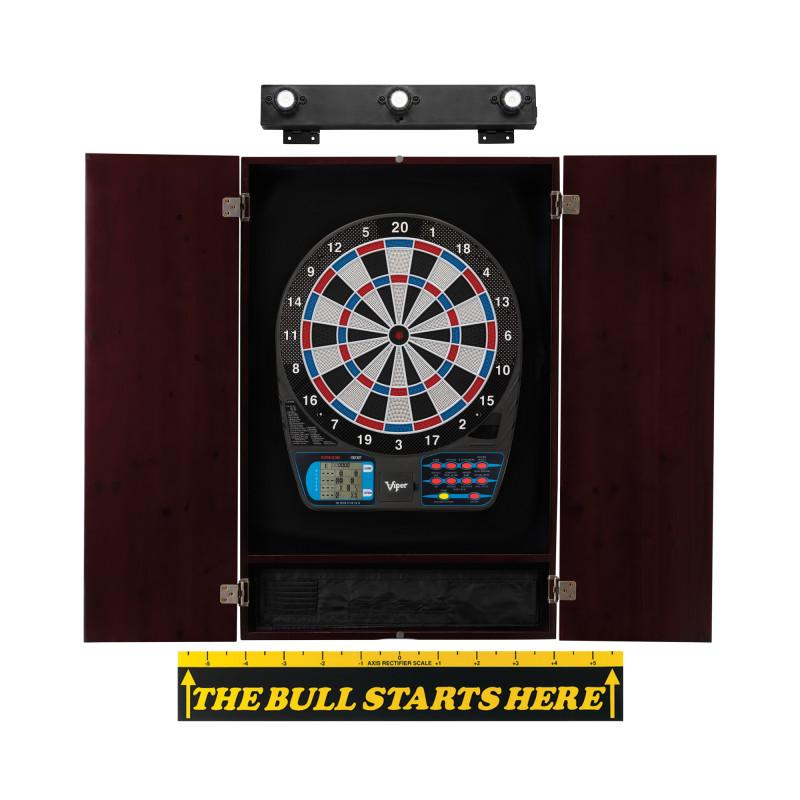 "Viper 787 Electronic Dartboard, Metropolitan Mahogany Cabinet, ""The Bull Starts Here"" Throw Line Marker & Shadow Buster Dartboard Lights"