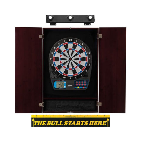 "Image of Viper 787 Electronic Dartboard, Metropolitan Mahogany Cabinet, ""The Bull Starts Here"" Throw Line Marker & Shadow Buster Dartboard Lights"