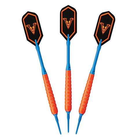 Image of Viper V Glo Soft Tip 18gm Orange, Casemaster Deluxe Pink Nylon Case, and 2BA Tufflex Tips II- Blue 100ct. Box Soft-Tip Darts Viper
