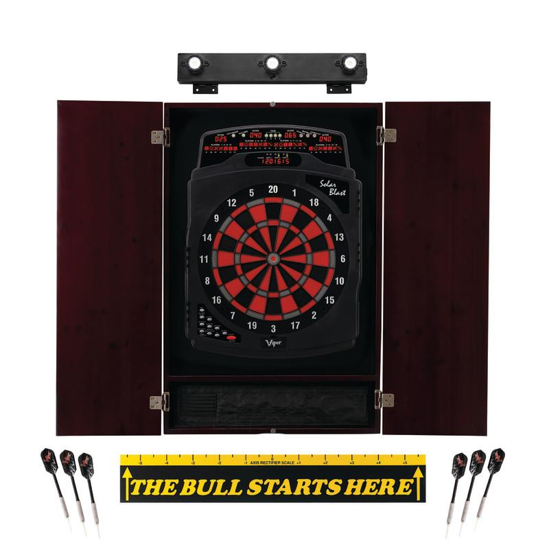 "Viper Solar Blast Electronic Dartboard, Metropolitan Mahogany Cabinet, ""The Bull Starts Here"" Throw Line Marker & Shadow Buster Dartboard Lights Darts Viper"