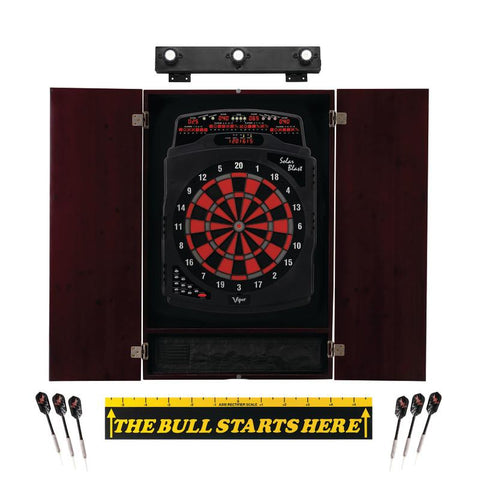 "Image of Viper Solar Blast Electronic Dartboard, Metropolitan Mahogany Cabinet, ""The Bull Starts Here"" Throw Line Marker & Shadow Buster Dartboard Lights Darts Viper"