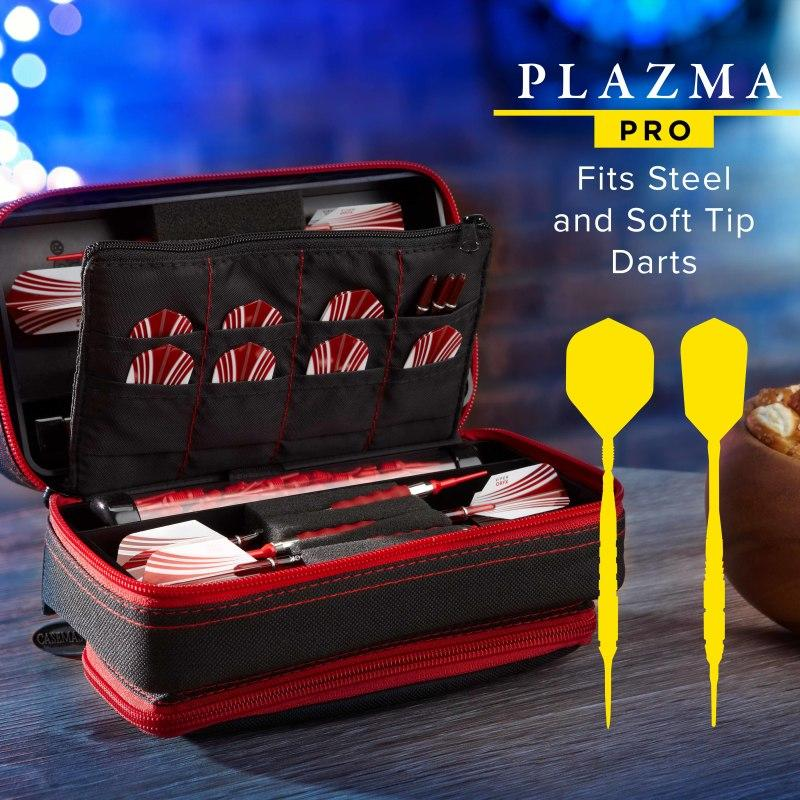 Casemaster Plazma Pro Dart Case Black with Ruby Zipper and Phone Pocket Dart Cases Casemaster