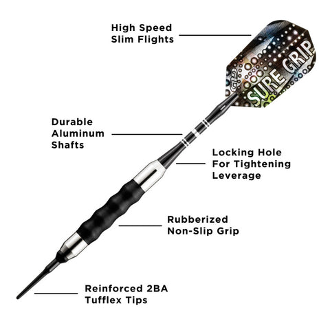 Image of Viper Sure Grip Soft Tip Darts Black 16 Grams