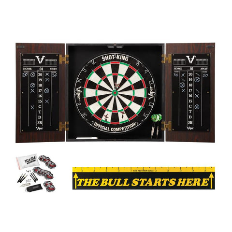 "Image of Viper Stadium Cabinet with Shot King Sisal Dartboard, Steel Tip Accessories Kit & ""The Bull Starts Here"" Throw Line Marker Darts Viper"