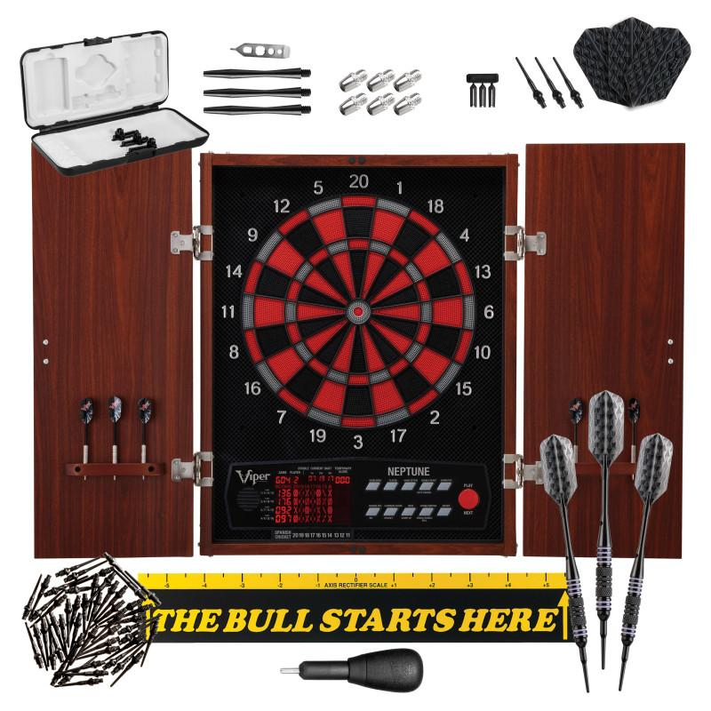 "Viper Neptune Electronic Dartboard, ""The Bull Starts Here"" Throw Line Marker, Bobcat Adjustable Weight Soft Tip Darts, Dart Tip Remover Tool & Tufflex II Black Dart Tips Darts Viper"