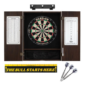 "Viper Dead On Sisal Dartboard, Metropolitan Espresso Cabinet, Shadow Buster Dartboard Lights & ""The Bull Starts Here"" Throw Line Marker"