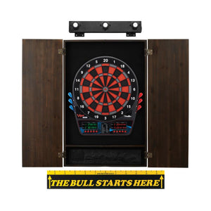 Viper Orion Electronic Dartboard, Metropolitan Espresso Cabinet, Throw Line Marker & Shadow Buster Dartboard Light Bundle