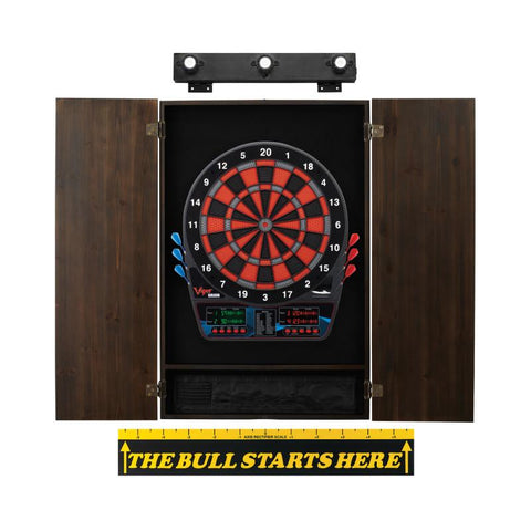 Image of Viper Orion Electronic Dartboard, Metropolitan Espresso Cabinet, Throw Line Marker & Shadow Buster Dartboard Light Bundle