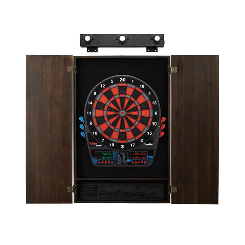 Viper Orion Electronic Dartboard, Metropolitan Espresso Cabinet & Shadow Buster Dartboard Light Bundle