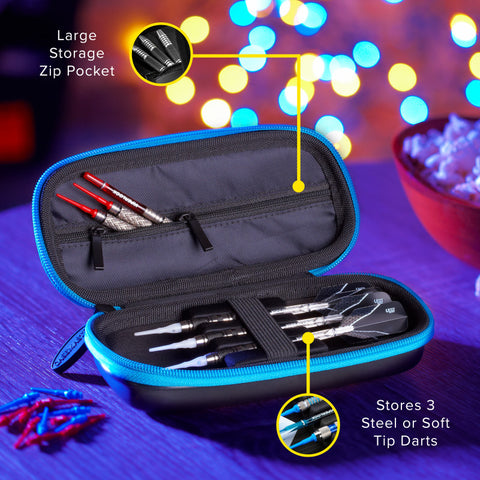 Image of Casemaster Warden Dart Case with Blue Zipper Dart Cases Casemaster