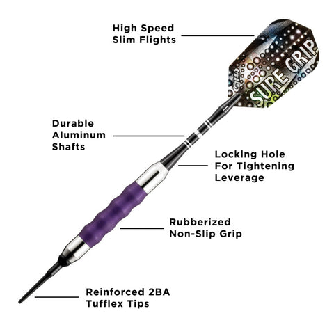 Viper Sure Grip Soft Tip Darts Purple 16 Grams