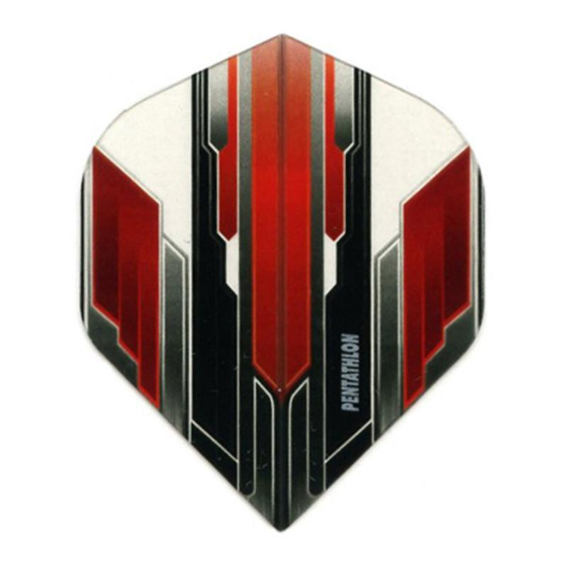 Pentathlon Flights - Standard Translucent Design White/Red/Black