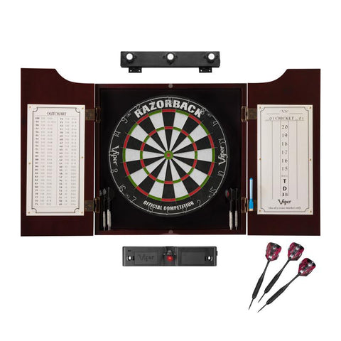Viper Razorback Sisal Dartboard, Hudson Mahogany Cabinet, Shadow Buster Dartboard Lights & Laser Throw Line Darts Viper