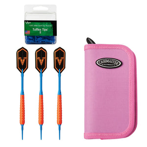 Viper V Glo Soft Tip 18gm Orange, Casemaster Deluxe Pink Nylon Case, and 2BA Tufflex Tips II- Blue 100ct. Box Soft-Tip Darts Viper