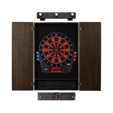 Viper Specter Electronic Dartboard, Metropolitan Espresso Cabinet, Laser Throw Line & Shadow Buster Dartboard Light Bundle
