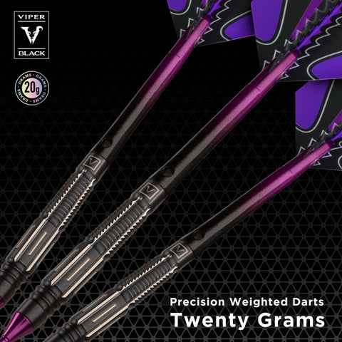 Viper Black Flux 90% Tungsten Steel or Soft Tip Conversion Darts Purple 20 Grams