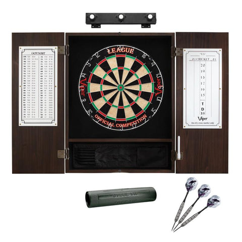 Image of Viper League Sisal Dartboard, Metropolitan Espresso Cabinet, Shadow Buster Dartboard Lights & Padded Dart Mat Darts Viper