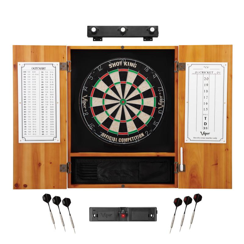 Viper Shot King Sisal Dartboard, Metropolitan Oak Cabinet, Shadow Buster Dartboard Lights & Laser Throw Line Marker Darts Viper