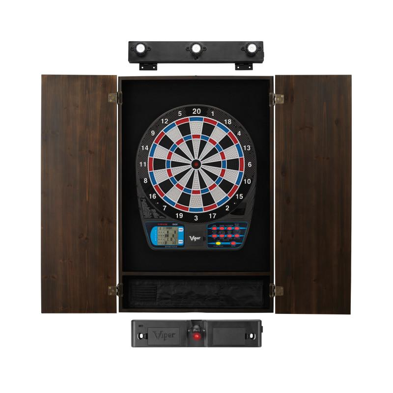 Viper 787 Electronic Dartboard, Metropolitan Espresso Cabinet, Laser Throw Line & Shadow Buster Dartboard Light Bundle Darts Viper