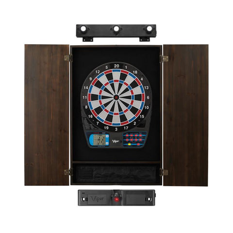Image of Viper 787 Electronic Dartboard, Metropolitan Espresso Cabinet, Laser Throw Line & Shadow Buster Dartboard Light Bundle Darts Viper
