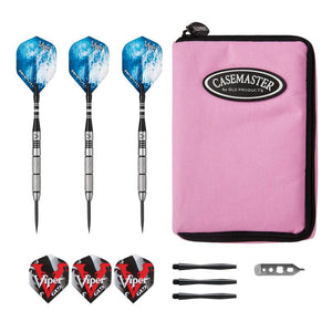 Viper Cold Steel Tungsten Darts Steel Tip Darts 21 Grams and Casemaster Select Pink Nylon Case Steel-Tip Darts Viper