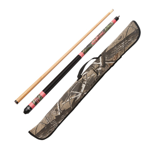 "Image of 1 Realtree Max 1 Pink Camo 19oz Hardwood 57"" 2pc Cue. 1 Realtree HD Hardwoods Padded Case With Accessories Pocket and Travel Handle."