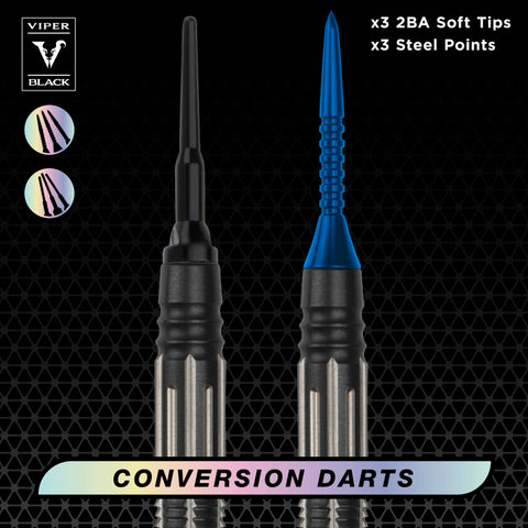 Image of Viper Black Flux 90% Tungsten Steel or Soft Tip Conversion Darts Blue 20 Grams