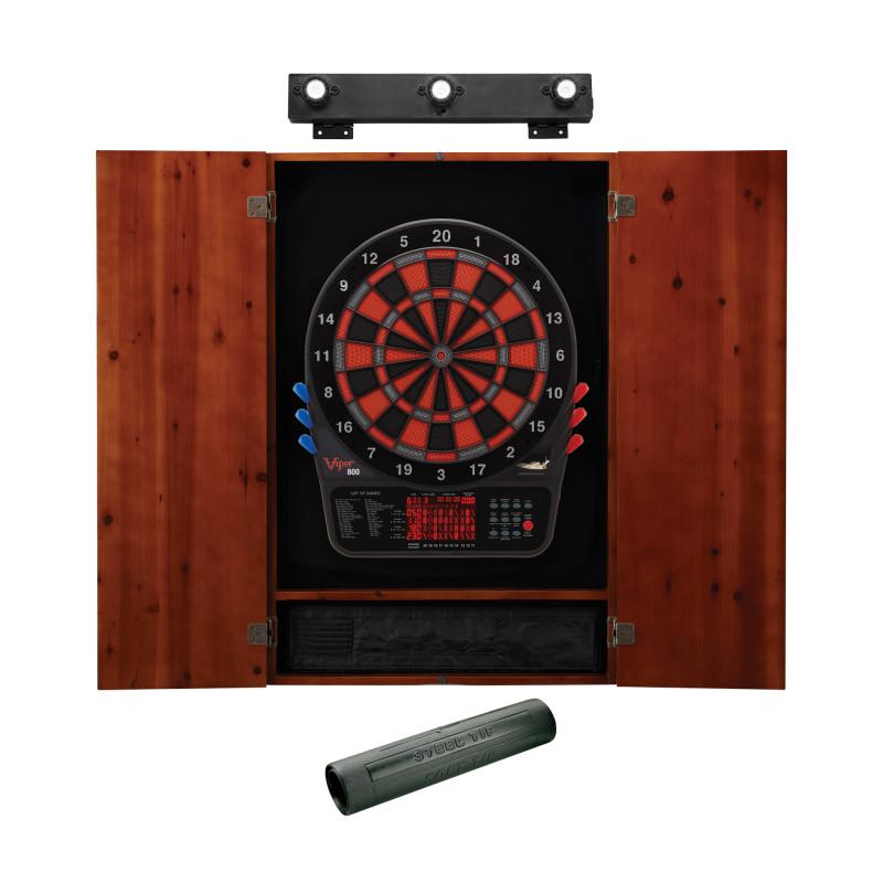 Viper 800 Electronic Dartboard, Metropolitan Cinnamon Cabinet, Dart Mat & Shadow Buster Dartboard Light Bundle