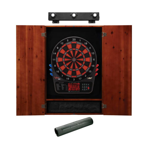 Image of Viper 800 Electronic Dartboard, Metropolitan Cinnamon Cabinet, Dart Mat & Shadow Buster Dartboard Light Bundle