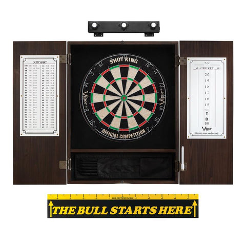 "Viper Shot King Sisal Dartboard, Metropolitan Espresso Cabinet, Shadow Buster Dartboard Lights & ""The Bull Starts Here"" Throw Line Marker Darts Viper"
