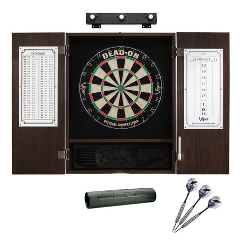 Image of Viper Dead On Sisal Dartboard, Metropolitan Espresso Cabinet, Shadow Buster Dartboard Lights & Padded Dart Mat Darts Viper