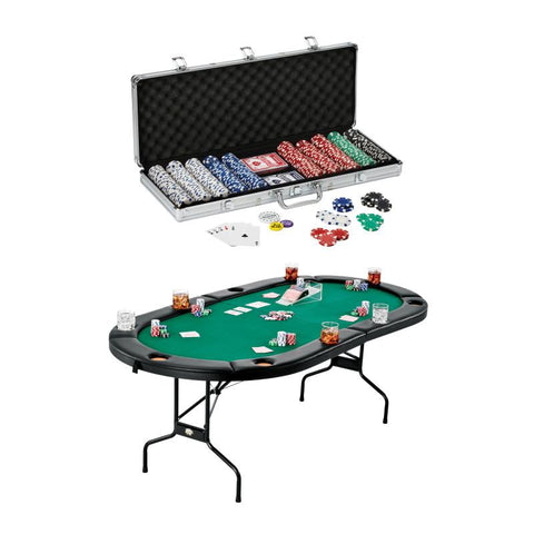 Fat Cat Texas Hold'em Table & Poker Chip Set Casino Bundles Fat Cat