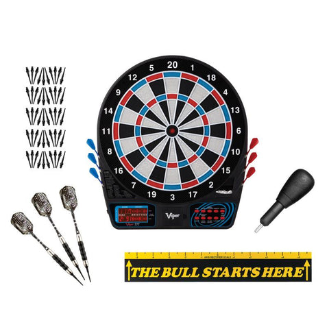 "Image of Viper 777 Electronic Dartboard, ""The Bull Starts Here"" Throw Line Marker, Sure Grip Black Soft Tip Darts, Dart Tip Remover Tool & Tufflex II Black Dart Tips Darts Viper"