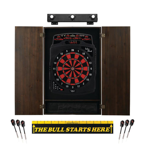 Image of Viper Solar Blast Electronic Dartboard, Metropolitan Espresso Cabinet, Throw Line Marker & Shadow Buster Dartboard Light Bundle Darts Viper