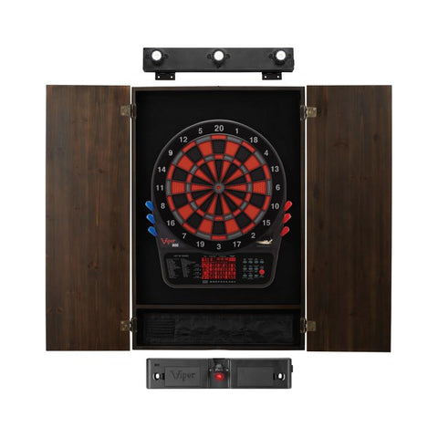 Viper 800 Electronic Dartboard, Metropolitan Espresso Cabinet, Laser Throw Line & Shadow Buster Dartboard Light Bundle