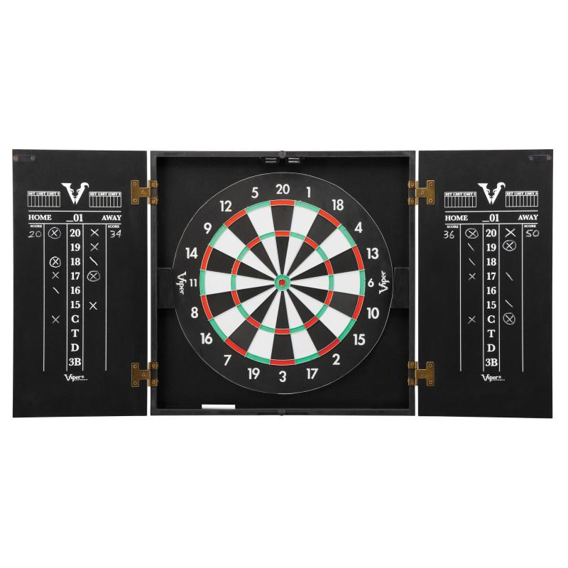"Viper Hideaway Cabinet with Coiled Paper Dartboard & ""The Bull Starts Here"" Throw Line Marker Darts Viper"