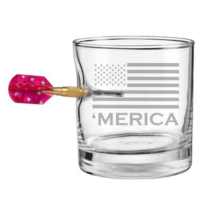 BenShot 'Merica Rocks Glass with Dart - 11oz Glassware BenShot