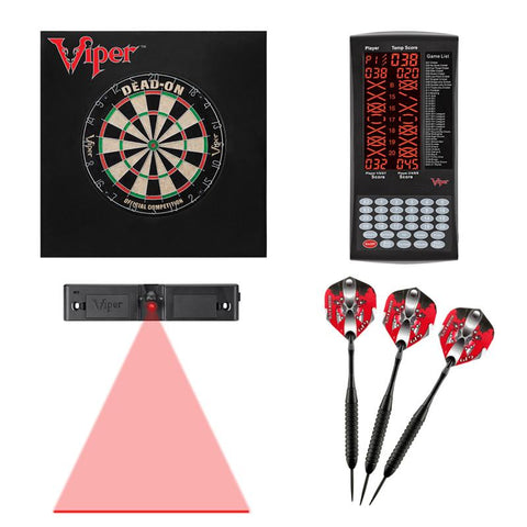 Viper Dead-On Bristle Dartboard, ProScore, Black Mariah Steel Tip Darts 22 Grams, Dart Laser Line, and Wall Defender II Darts Viper