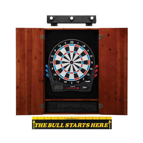 Image of Viper Showdown Electronic Dartboard, Metropolitan Cinnamon Cabinet, Throw Line Marker & Shadow Buster Dartboard Light Bundle